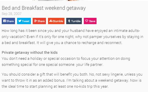 Bed and Breakfast weekend getaway