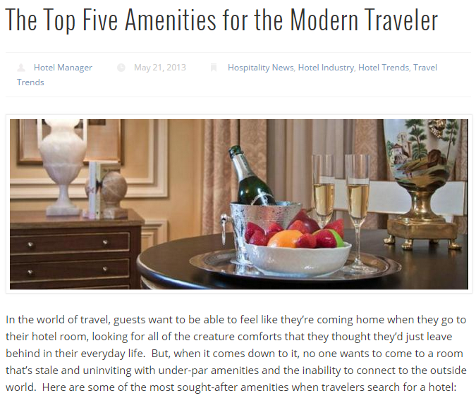 The Top Five Amenities for the Modern Traveller